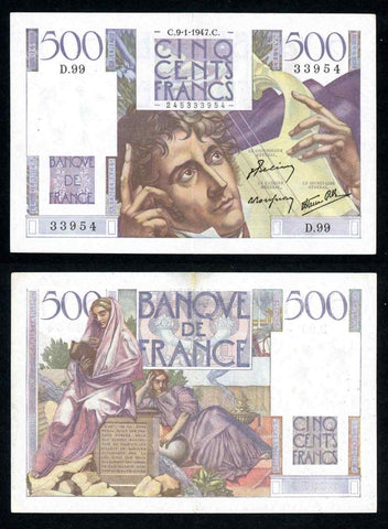 1947 France 500 Francs Banknote Pick Number 129a Banque De France Issue Apparent Very Fine or Better