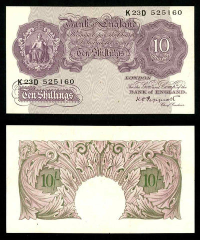 1948 Great Britain 10 Shillings Banknote P368a Signed Peppiatt Prefix K23D AU+++