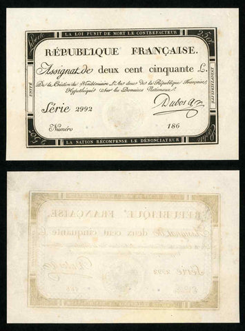 1793 France 250 Livres Banknote Second Year of The Republic Pick A75 XF to AU