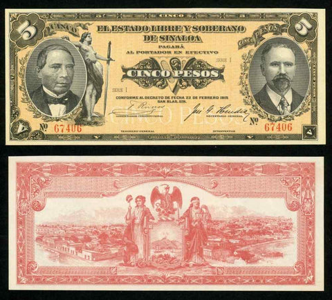 1915 Mexico State of Sinaloa Series I Five Pesos Banknote Pick No. S1044a? UNC