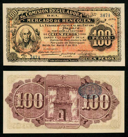 1915 Currency Series G State of Yucatan Mexico 100 Pesos Banknote P# S1125 UNC