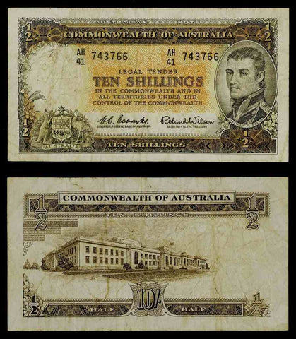 1961-65 ND Australia 10 Shillings Banknote Pick Number 33a Matthew Flinders Portrait Nice About Very Fine Currency