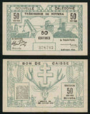 Pair of Arrete of January 29, 1943 New Caledonia 50 Centimes and One Franc Banknotes Pick Number 54 and 55 Nice Extremely Fine or Better