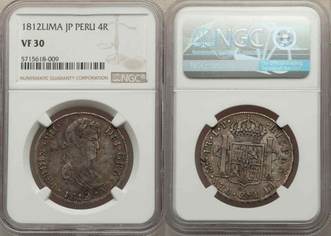 1812 Peru Silver Coin Lima Mint Assayer JP 4 Reales King Ferdinand VII NGC VF 30