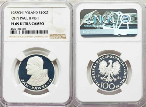 1982-CHI Silver Coin Poland 100 Zlotych/Zloty Visit of Pope John Paul II NGC PF69 Ultra Cameo