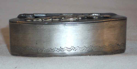 Rare Antique English Oval Pewter Pocket Snuffbox Brass Decorated Hinged Lid