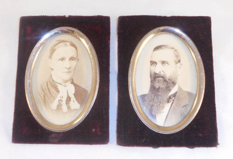 Pair of Antique Black and White Photographs of Man and Woman Velour and Oval Metal Framing