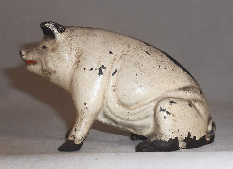 Antique Figural Cast Iron Painted Still Penny Bank Pig or Hog Sitting on Hind Legs