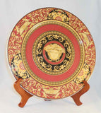 Beautiful Rosenthal Porcelain Charger Versace Medusa Red Design Red, Black and Gold Colors
