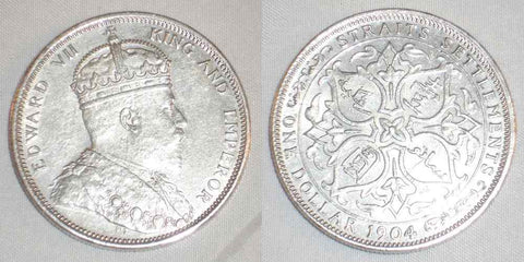 1904B Silver Coin One Dollar Straits Settlement Malaya Edward VII of England XF+