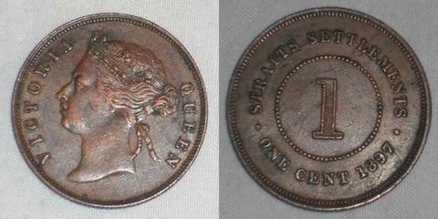 1897 Bronze Coin One Cent Straits Settlements Malaya Peninsula Queen Victoria