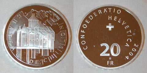 Beautiful Swiss Proof Silver Coin 2004 B Twenty Francs Chateau de Chillon Swiss Confederation
