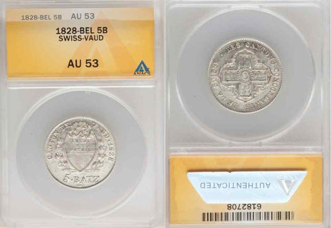 1828 BEL Silver Coin From Switzerland Swiss Five Batzen Canton Vaud ANACS AU53