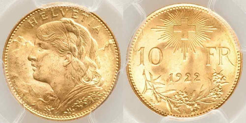 1922 B Beautiful Gold Coin Switzerland Swiss Confederation Ten Francs MS 65