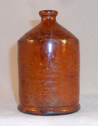 2000 Greg Shooner Redware Manganese Glazed Presentation Cylindrical Bottle Flask