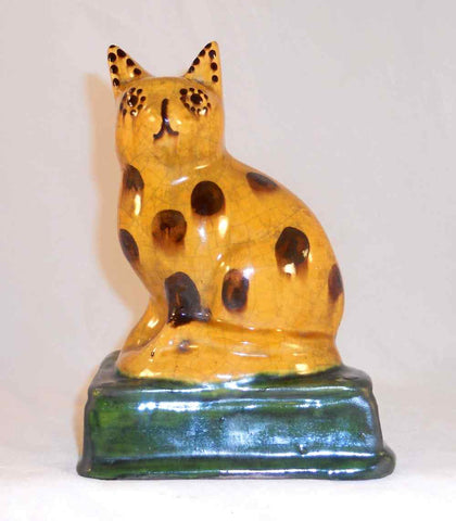 Unusual 2000 Shooner Glazed and Colorful Redware Large Seated Cat Figurine