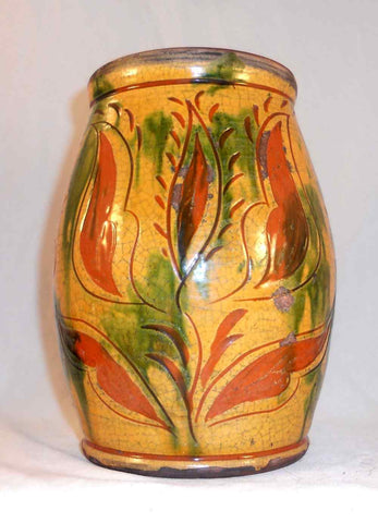 Great 1999 Greg Shooner Lead Glazed Redware Large Jar Sgraffito Tulip Decoration