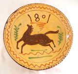 2000 Greg Shooner Redware Yellow Deep Pie Plate Slip Decorated Stylized Horse