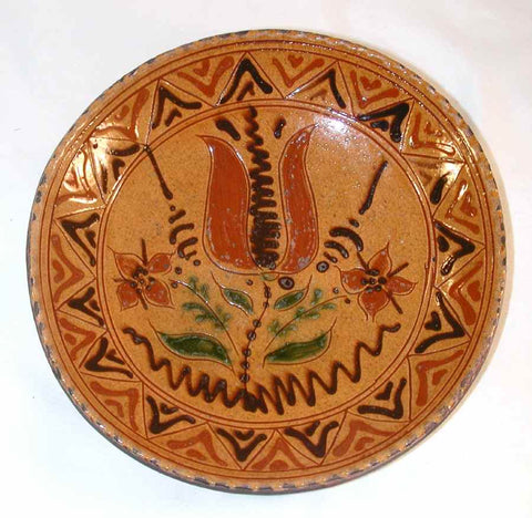 2005 Redware Deep Pie Plate Glazed and Sgraffito Decorated Primitive Tulips on Yellow by Greg Shooner