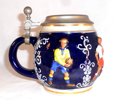 Vintage Cobalt Blue Glazed Stoneware Stein Raised Colorful Soccer Players Design With Pewter Lid Marked MR Made in Germany