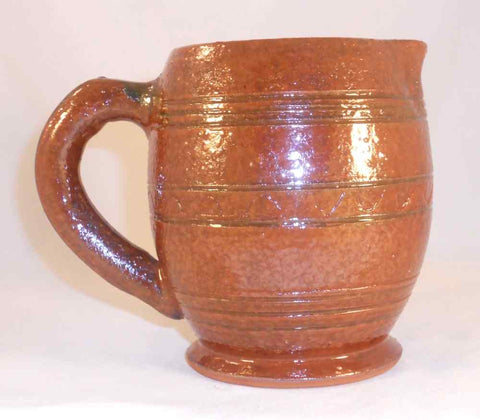 1947 Russell Stahl Redware Small Pitcher Glazed Brown Colored Line Decoration