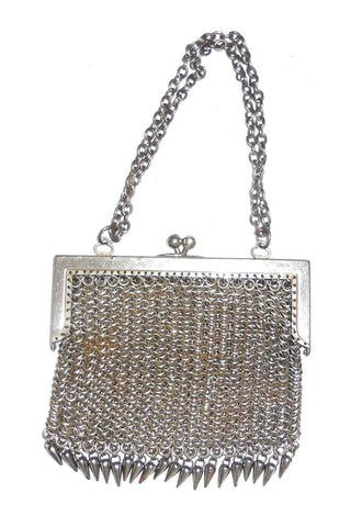 Vintage Silver Colored Steel? Mesh Purse with Chromed Frame Chain Handle