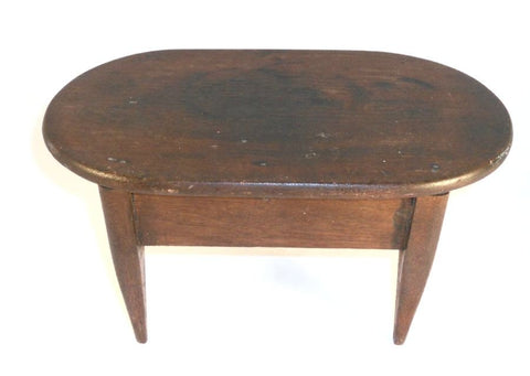 Antique Shaker Wood Footstool Delicate Tapered Legs Rectangular with Round Ends Flat Top Beautiful Dark Brown Finish