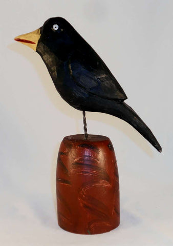 2018 Hand Carved Polychrome Painted Wooden Primitive Black Colored Crow Wire Legs Yellow Beak By Daniel and Donna Strawser