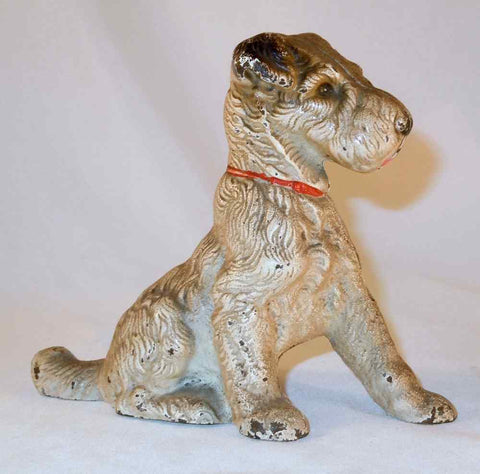 Antique Hubley Cast Iron Dog Still Penny Bank Wirehair Terrier in Red collar