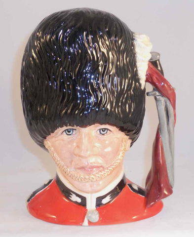 "1986 Hand Made Royal Doulton Toby Character Mug ""The Guardsman"" Modeled By Stanley James Taylor D6755 Sword & Scarf Handle"
