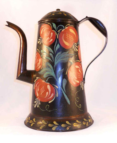 Vintage Primitive Painted Tin Toleware Pennsylvania Dutch Coffee Pot Colorful Fruits and Leaves