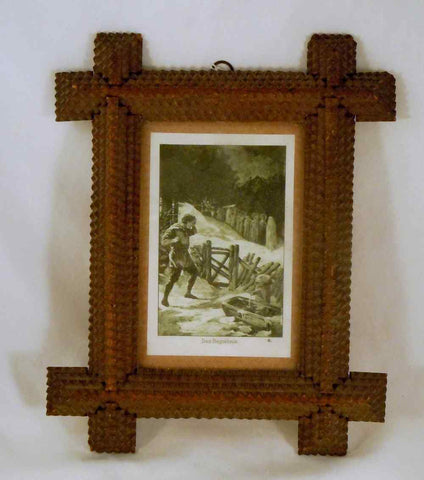 Antique Wood Tramp Art Picture Frame With German Print Under Glass Cover