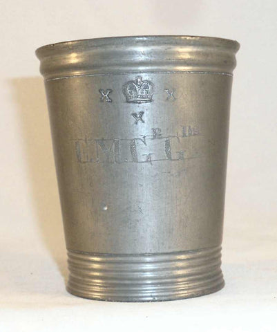 Antique Pewter Tumbler or Measure Half Pint Imperial Marked Walker with Crowned X