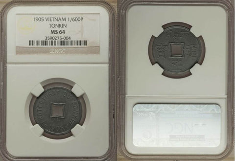 1905 Tonkin Vietnam Zinc Coin 1/600 Piastre Square Central Hole Uncirculated NGC MS 64