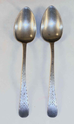 Pair of Antique Pewter Decorated Tablespoons By William Tutin & Company Birmingham England