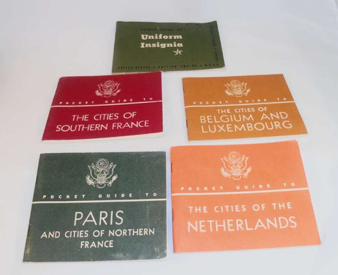 5 WWII Pocket Guides Issued by The War Department Cities of Netherlands, North and Southern France, Belgium and Uniform Insignia