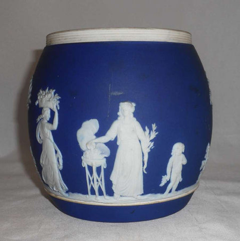 Antique Dark Blue Jasperware Wedgwood? Large Size Barrel Putti, Women, Trees, and Flowers Decoration