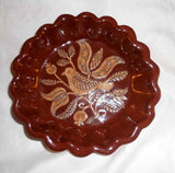 1982 Oley Valley PA Scalloped Redware Plate Sgraffito Bird Tulips Design Youder
