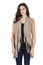 Cutting Edge Om Flower Fringe Vest