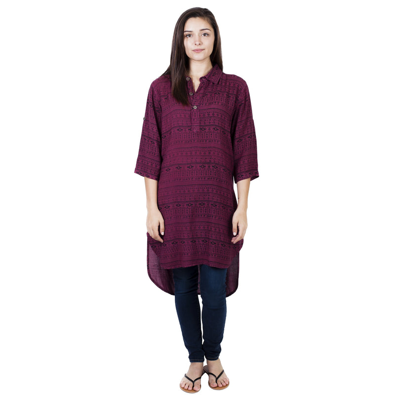 Dakota Hi-low Kurta Top Henley Tunic