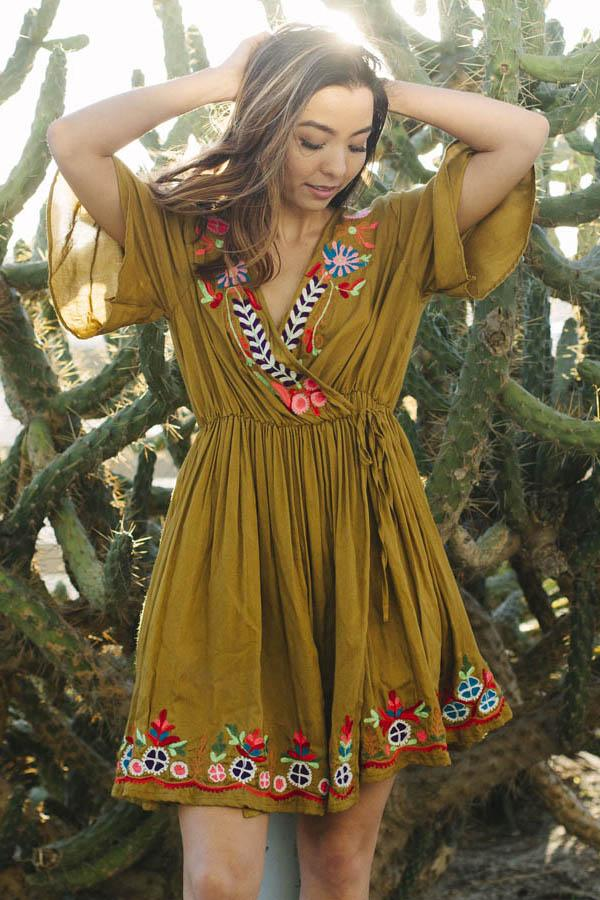 Flower Power Boho Embroidered Wrap Dress