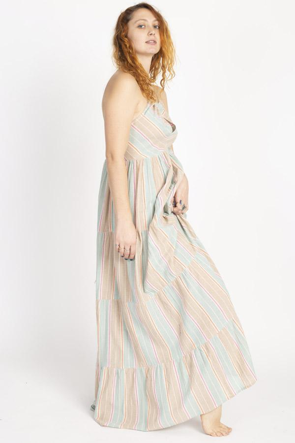 Striped Halter Keyhole Maxi Dress