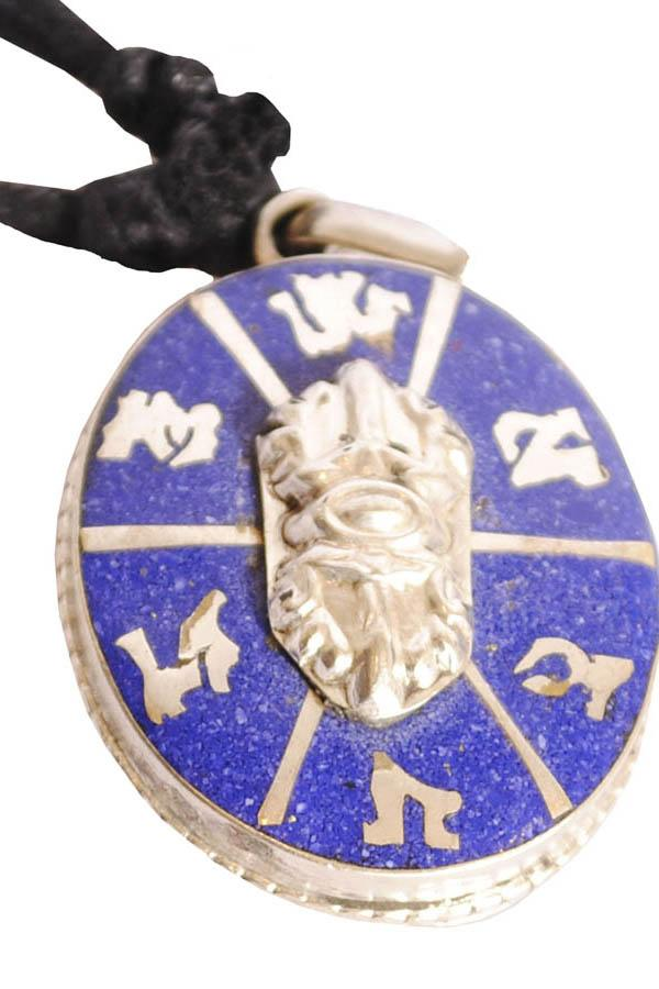 Tibetan Prayer Dorje Pendant Necklace with Lapis