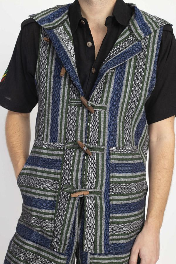 Rustic Nepal Hooded Vest