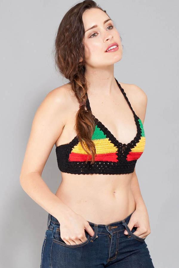 Reggae Hand Crochet cotton summer beach bikini top-Rasta-One Size
