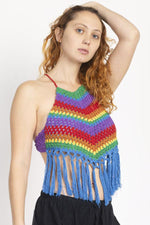 Vintage Rainbow Halter Top