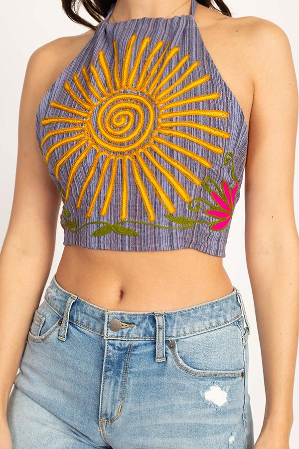 Sunrise Embroidered Halter Top