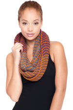 Hand knit Dual color Infinity Winter scarf