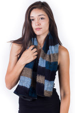 Warm tri stiped infinity scarf with Zipper