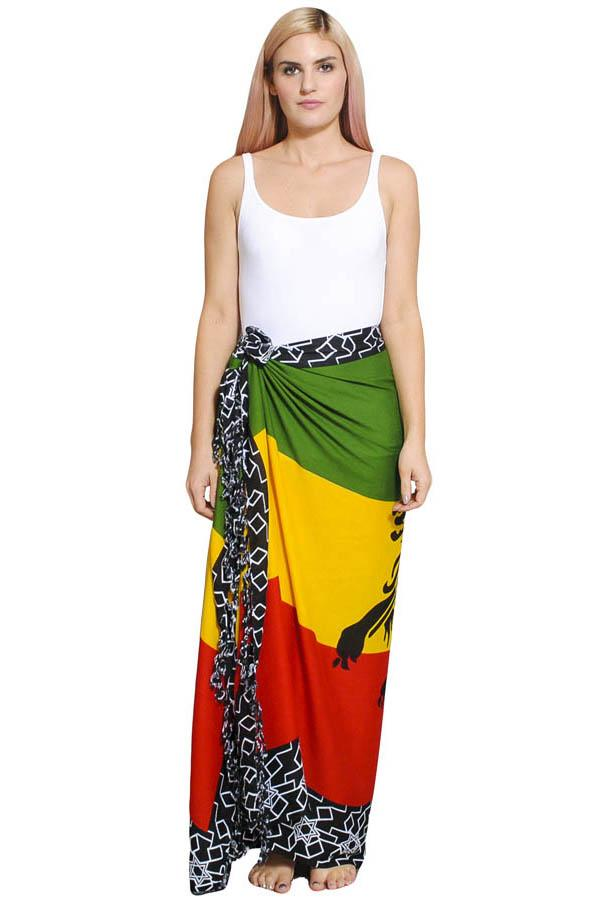 Women's Rasta Reggae Lion Beach Summer Sarong Wraps Cover up-One Size